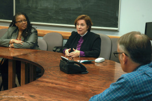 Linda Manson (left) and Bishop Burkat meet with Graterford Prison officials in Oct. 2014.