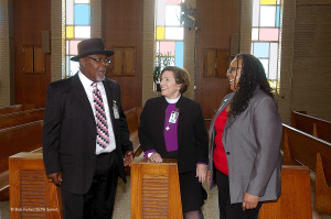 Manson (r) with Bishop Burkat and intern, Nate Curtis, at the Graterford Chapel