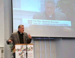 The Rev. Dr. Stephen Bouman, executive director of the ELCA Congregational and Synodical Mission unit, addresses the 2015 Synod Assembly.