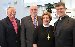 Newly elected Secretary, the Rev. Karl Richard (right) with Bishop Burkat, outgoing Secretary the Rev. Raymond A. Miller (second from left), and his predecessor, the Rev. Larry V. Smoose (left).