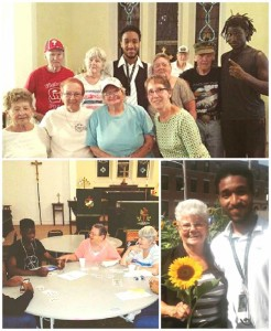 Top: The Settlement Project participants pose in the LSH Senior Center on their last day. Left: The teens learn how to play Rummy at the Center. Right: Tristian and one of our seniors poses with a sunflower from the garden. Click for larger image