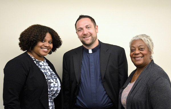The Youth and Formation and Evangelical Outreach team is at full strength: Dionne Jackson, Pastor Bradley Burke, and Pastor Pat Davenport. (Photo: Bob Fisher)