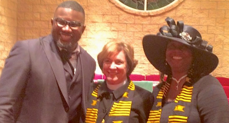 Pastor Wells, Bishop Burkat and Synod Vice President Tracey A. Beasley