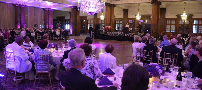 ELCA Presiding Bishop Elizabeth Eaton addresses the retirement gala for Bishop Claire Burkat at the Crystal Tea Room in Philadelphia July 8.