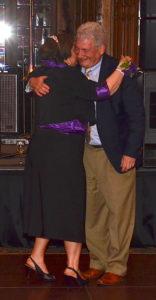 Bishop Burkat embraces Rabbi David Strauss.