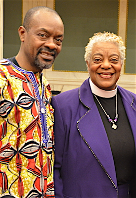 Bishop with Eric Nzeribe, publisher of Fun Times magazine, which sponsored the event.