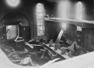 View of the destroyed interior of the Hechingen synagogue the day after Kristallnacht.