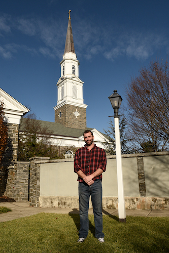 Chris Rhoads at Trinity, Lansdale, which he once vandalized.